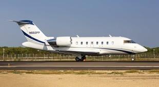 Bombardier Challenger 604 on runaway