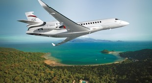 Dassault Falcon 8X flying in the sky