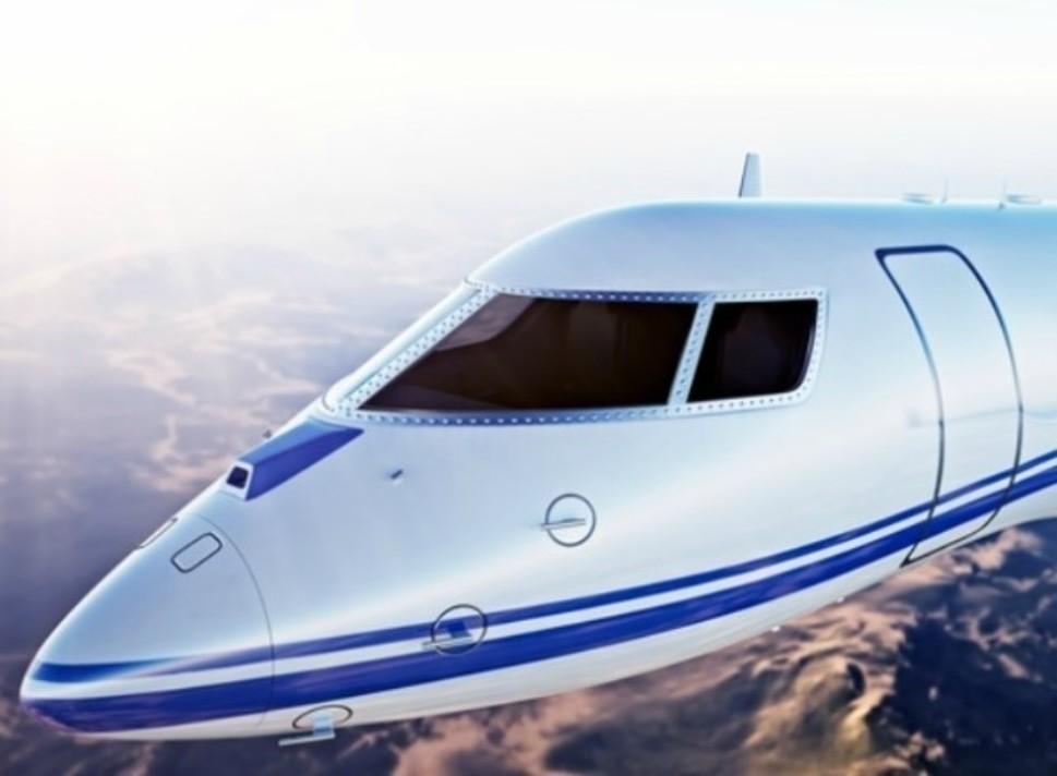 Private jet in flight