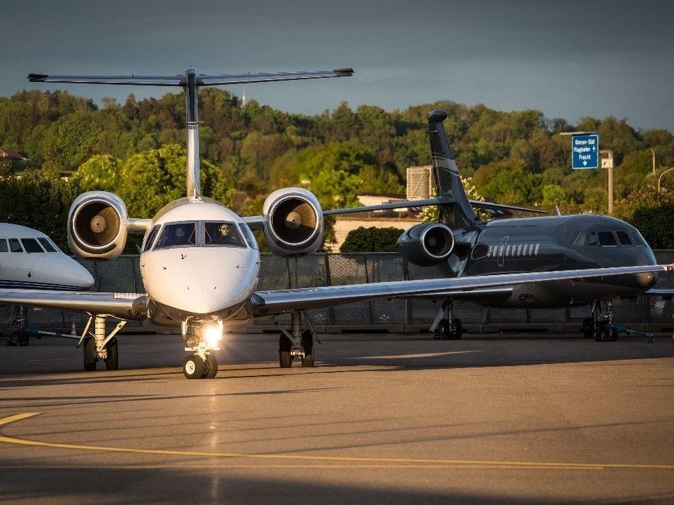 Private Jet Prepares for Take-Off