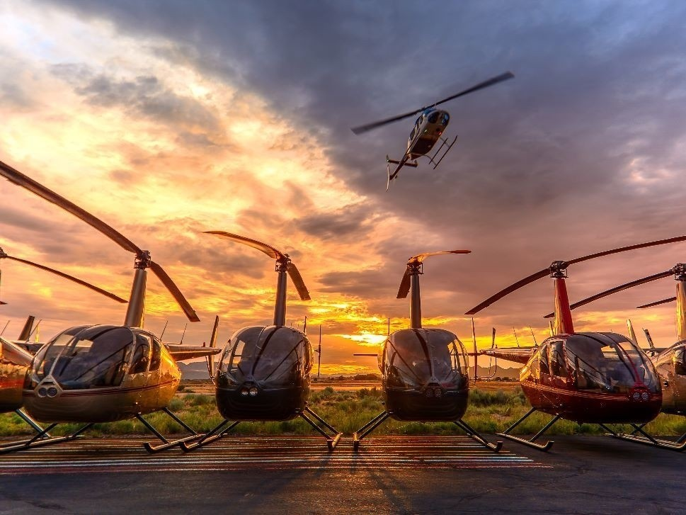Helicopters Parked in a Row