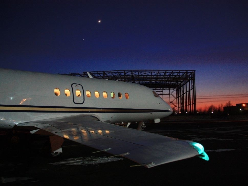 Dassault Falcon Private Jet at the Airport