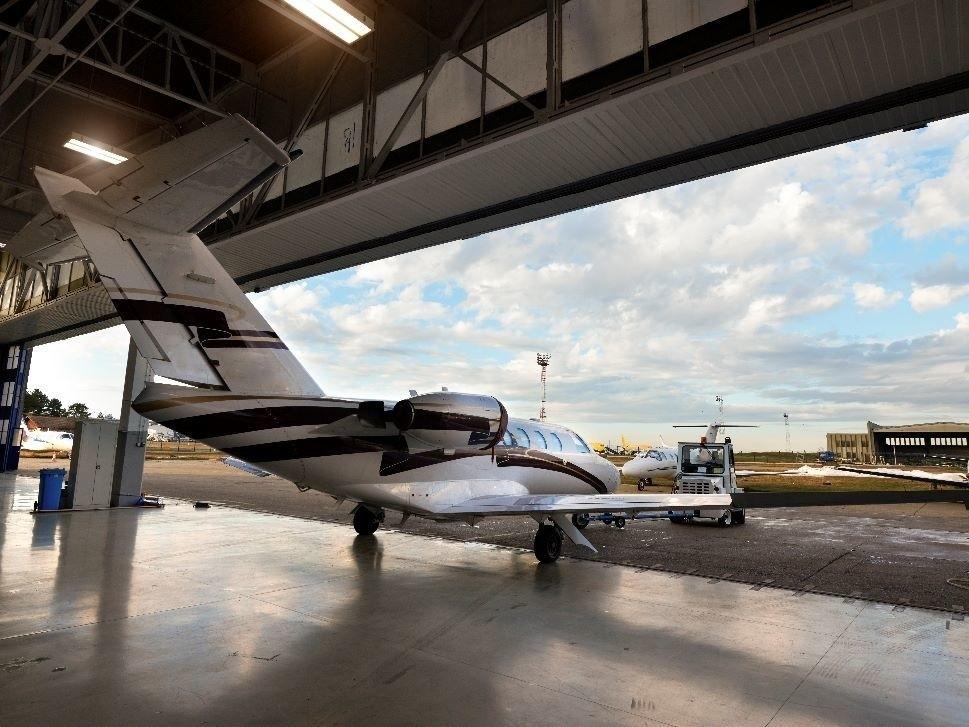Cessna Citation Jet in Hangar