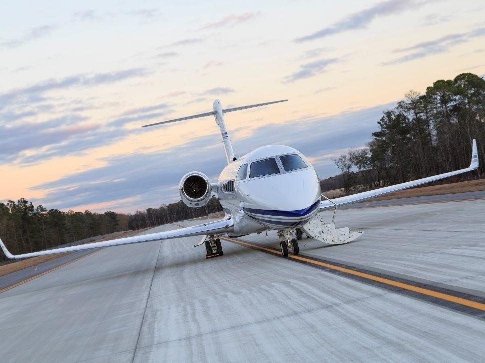 Gulfstream Business Jet on Airport Ramp