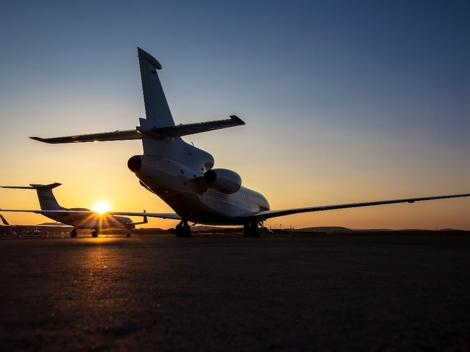 Private Jets at Sunset