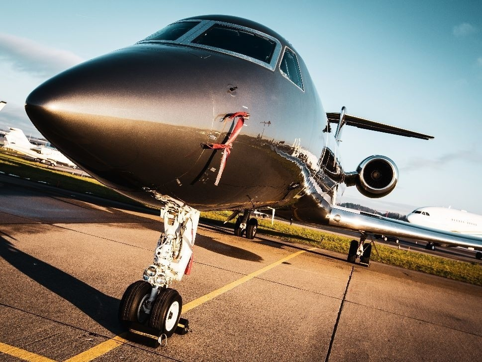 Private jet at airport