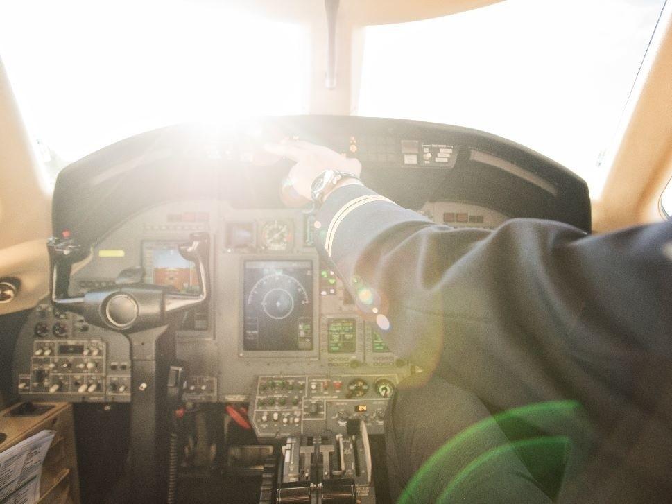 Private Jet Cockpit Display in Flight