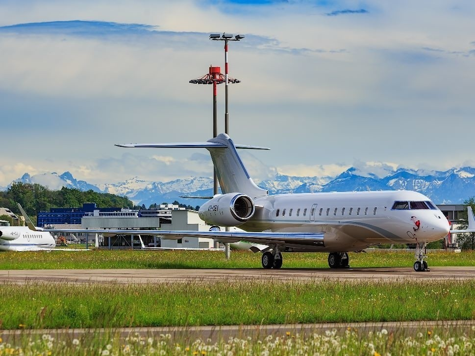 Bombardier Global Jet parked at airport