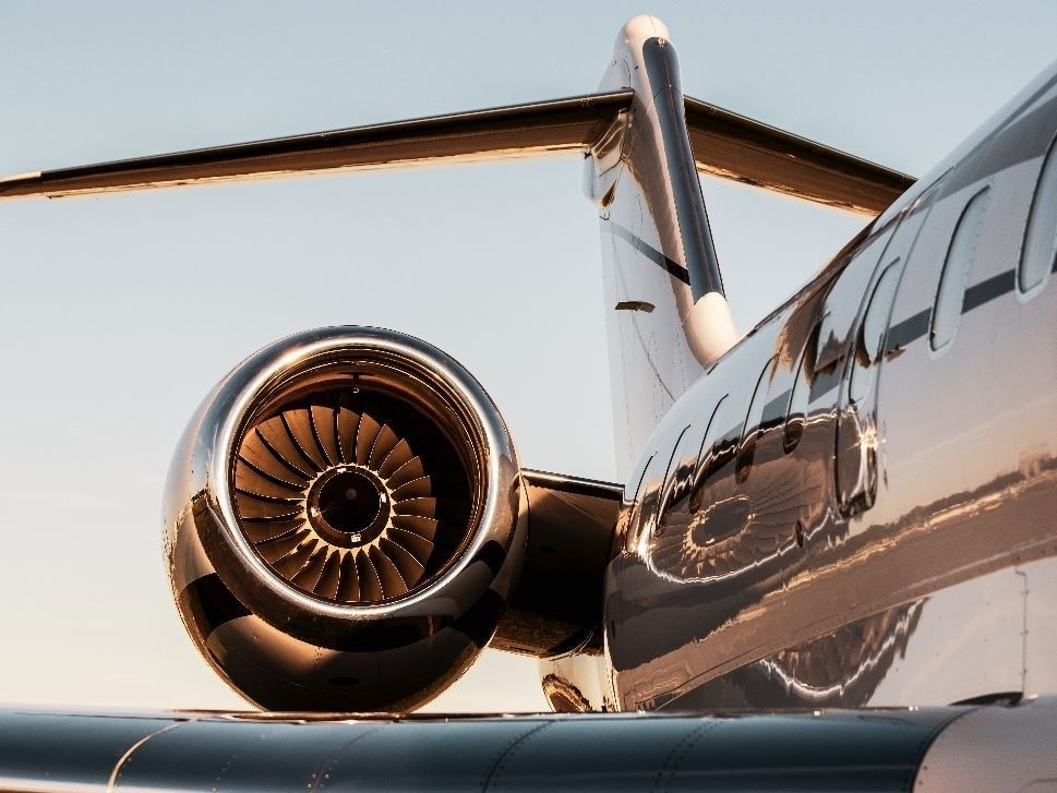 Business Jet at Sunset