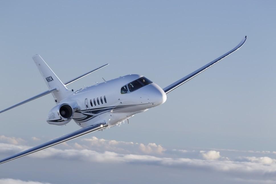 Cessna Citation Latitude Private Jet In Flight