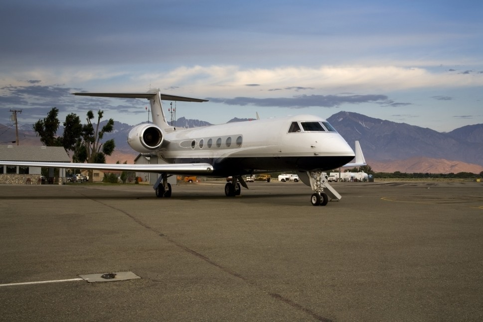 Gulfstream Private Jet Parked on Airport Ramp
