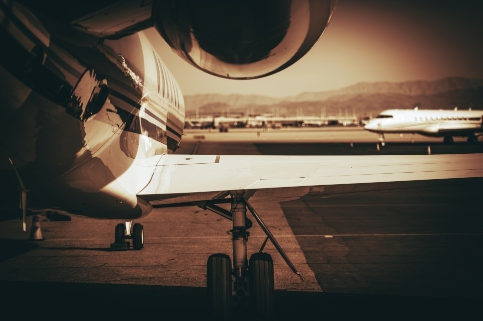 Private Jet Waits at Airport for Passengers