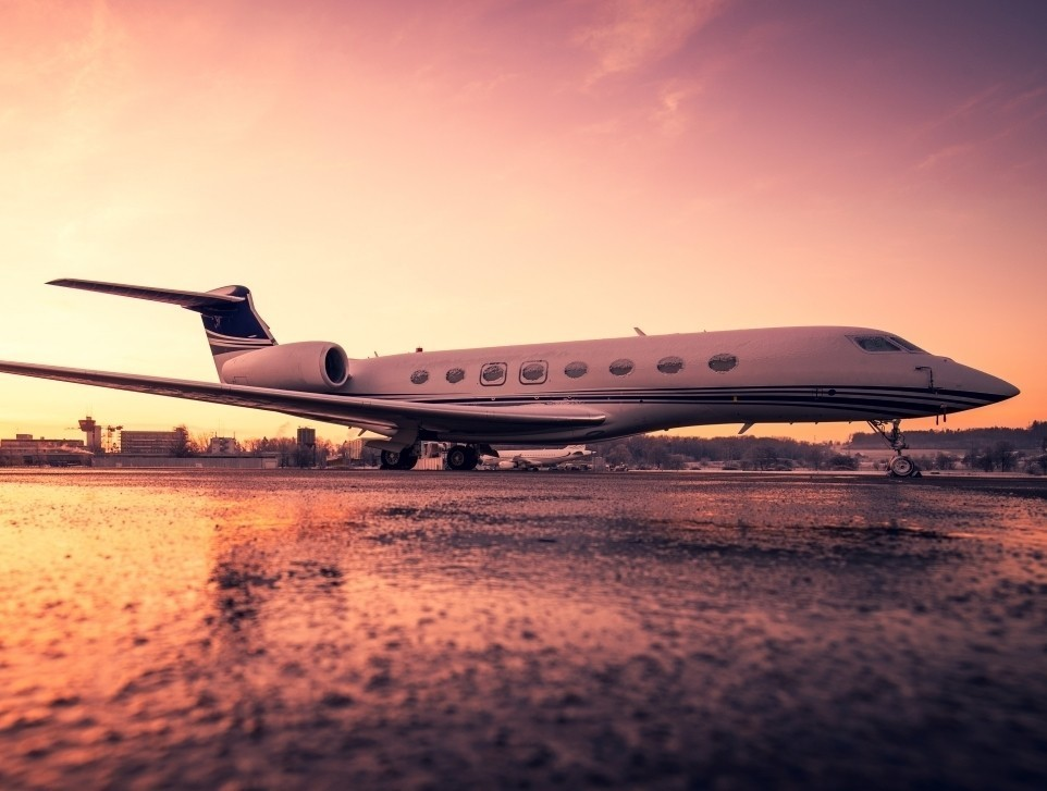 Gulfstream Private Jet on Cold Snowy Morning