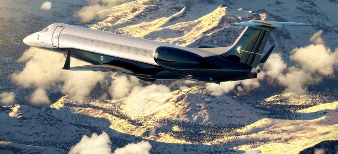 Embraer Legacy 650 Jet in Flight