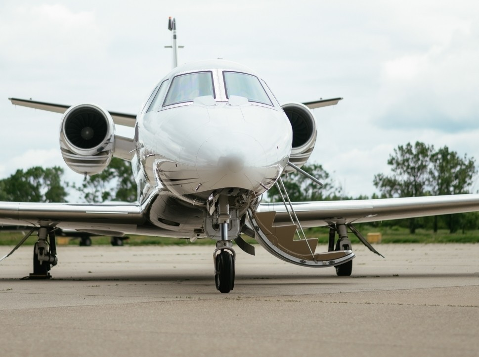 Private Jet Waits on the Ramp of a Regional Airport