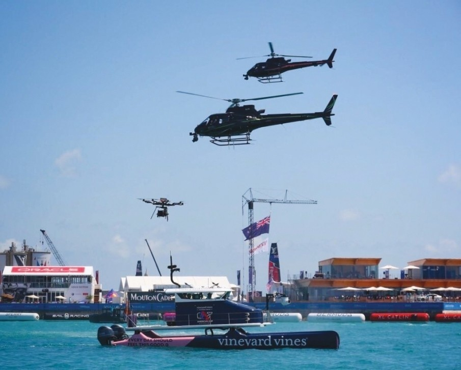 Heavy Lift Drones being used alongside H125 Helicopters with less than 10 metres separation at time