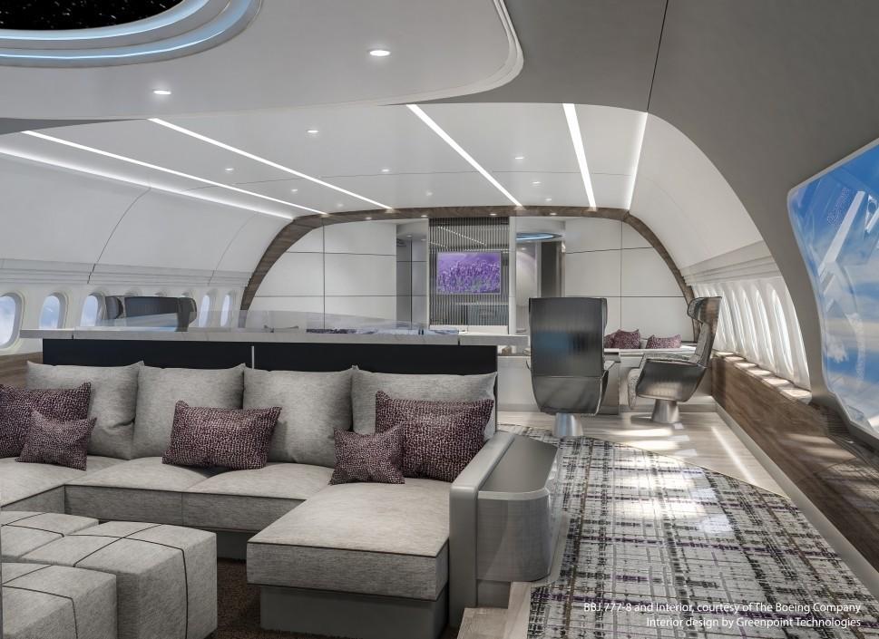 BBJ 777X Lotus Media Forward Lounge