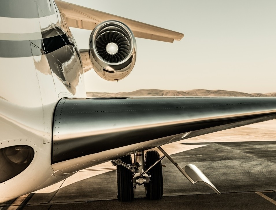 Privatejet wing, tail and engine