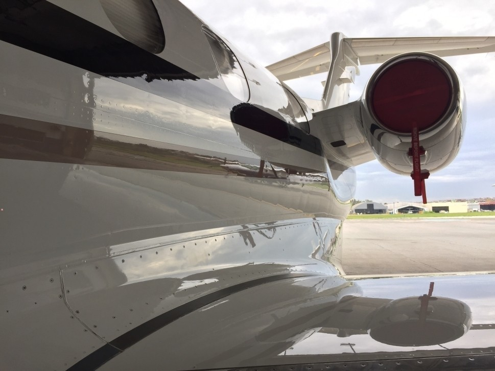 Private Jet engine, tail and wing