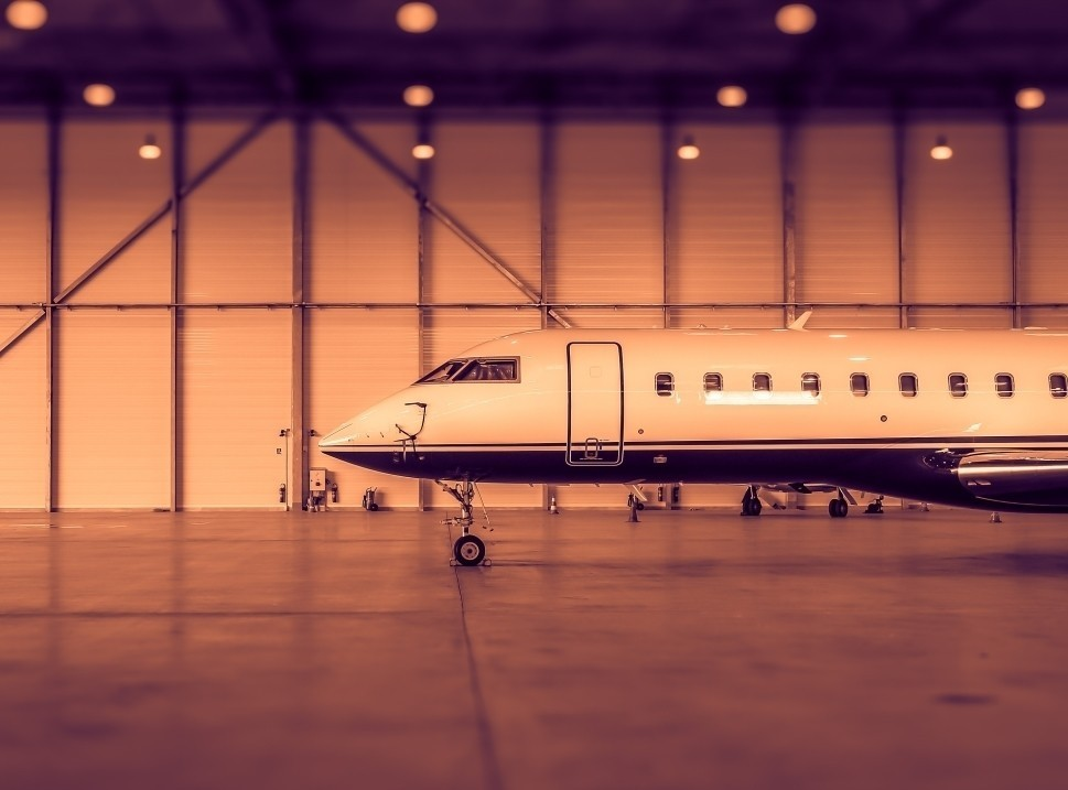 Bombardier Private Jet in Aircraft Hangar
