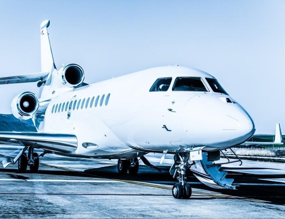 Dassault Falcon Jet Waits to Pick Up Passengers