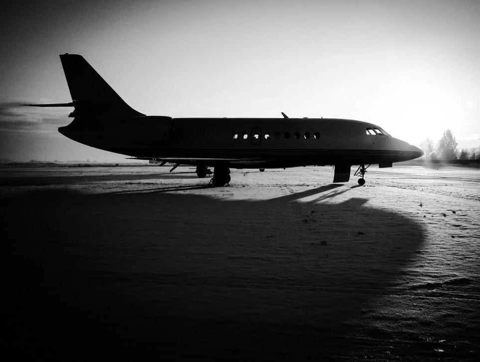 Dassault Falcon Private Jet Silhouette