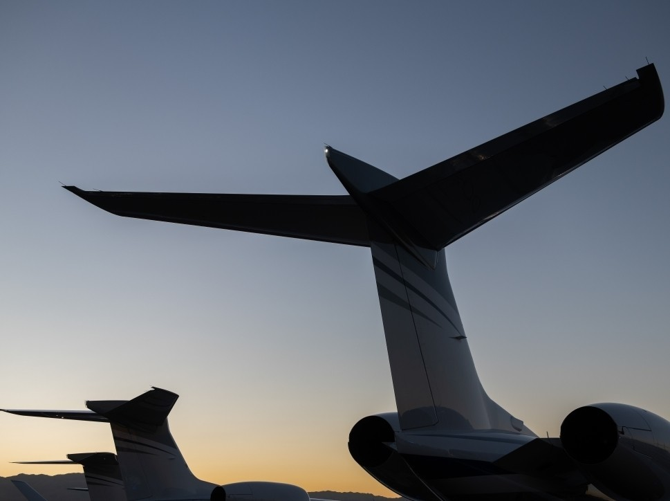 Gulfstream Private Jet Tails Lined Up