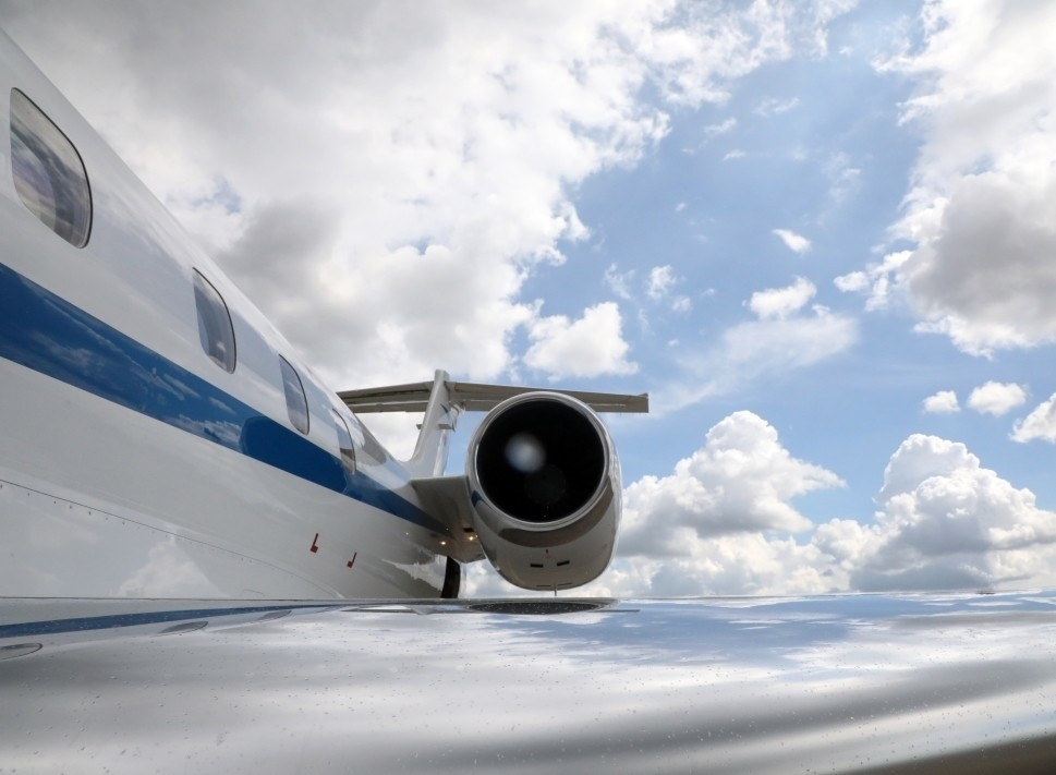 Cessna Citation Jet Engine Viewed over the wing