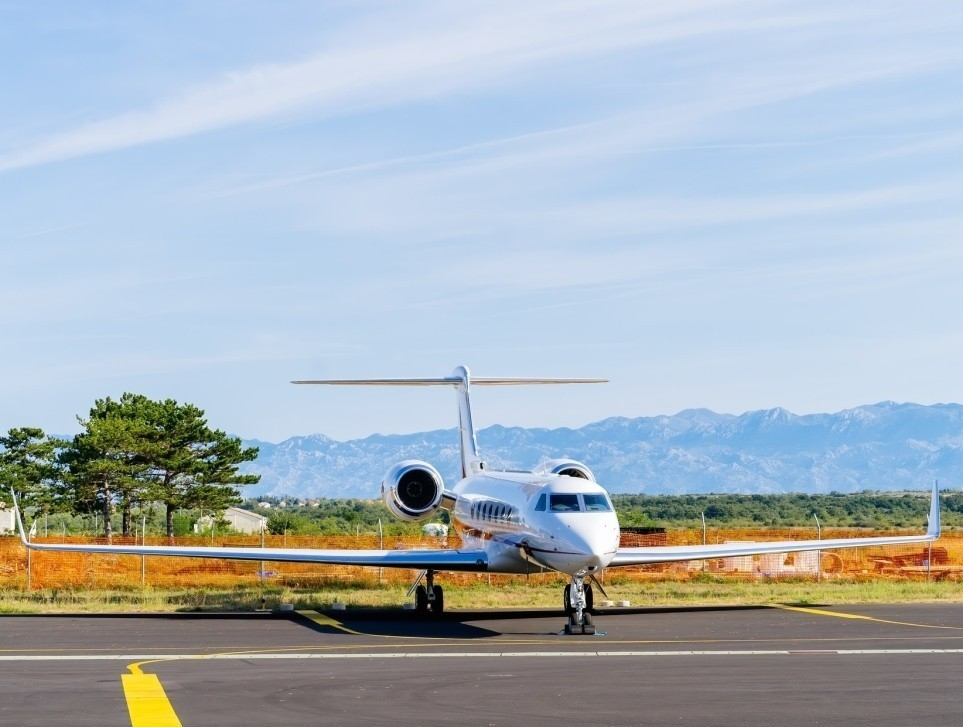 Gulfstream private jet parked on Australian airport ramp