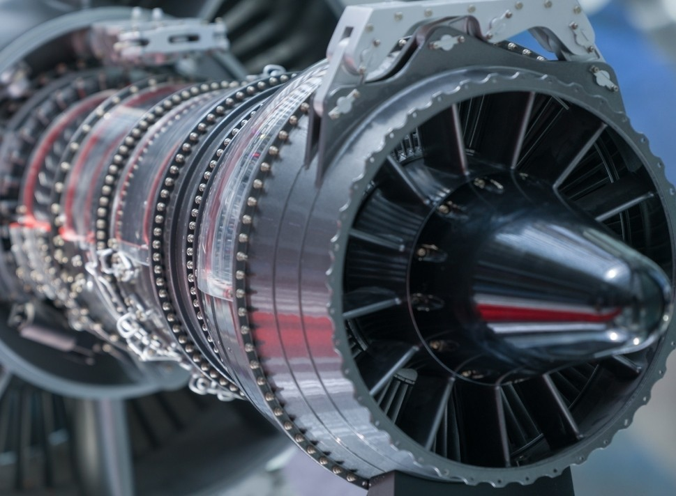 Business jet engine with nacelle removed