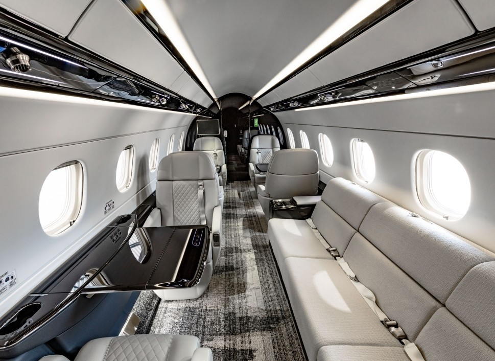 Embraer Legacy 500 refurbished main cabin viewed from the aft