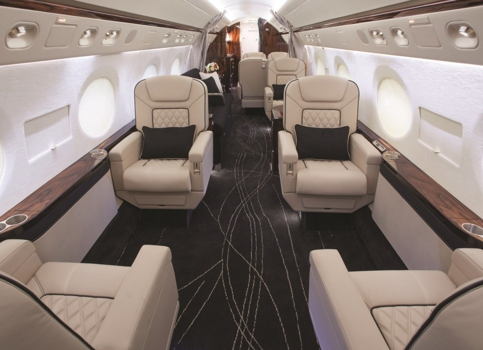 A Gulfstream G550 private jet cabin refurbished by Duncan Aviation