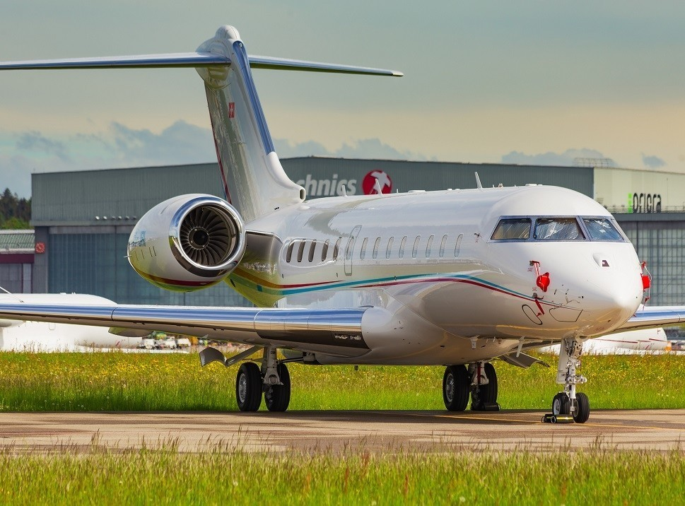 Bombardier Global 5000 Large Jet on Airport Ramp