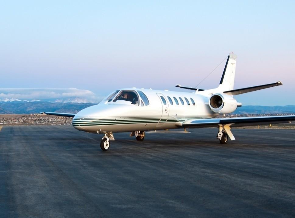 A Cessna Citation Bravo Light Jet at the airport