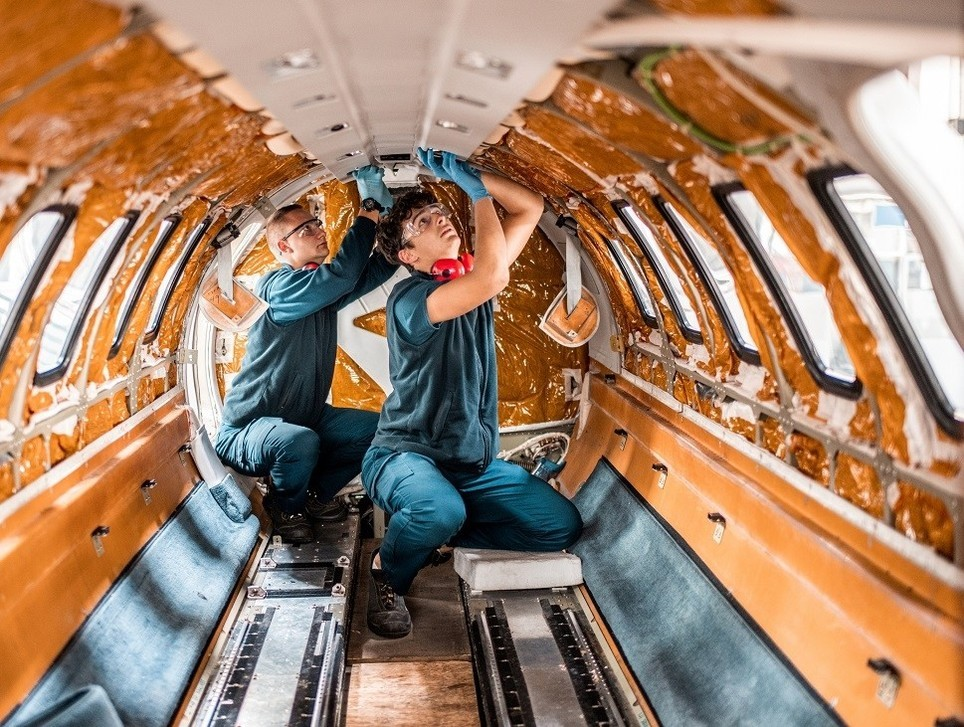 Private jet cabin stripped of its interior during MRO