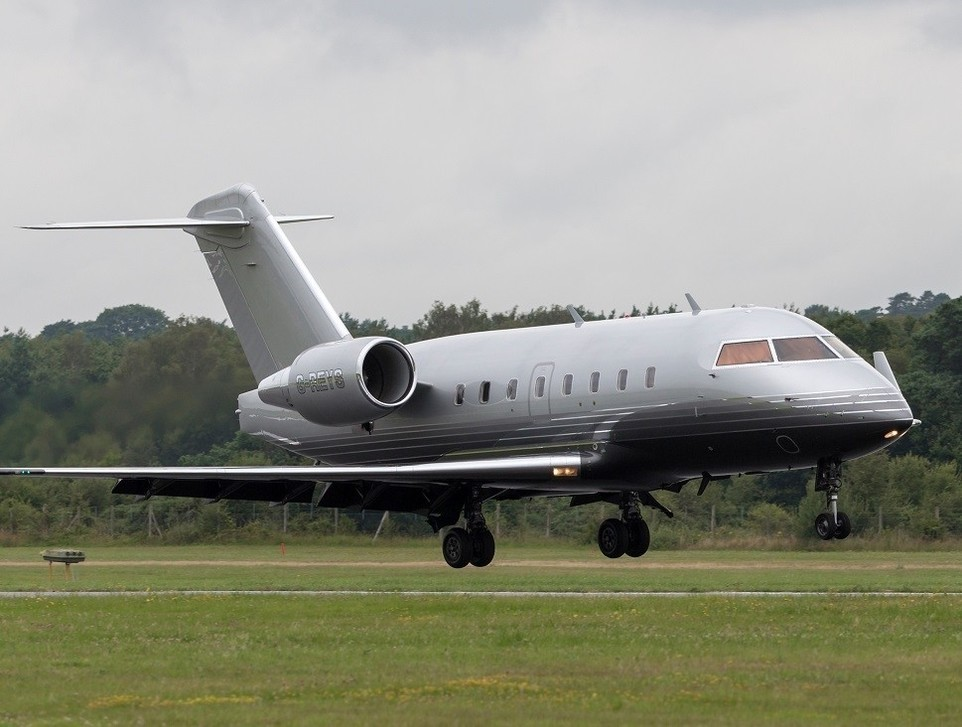 A Bombardier Challenger 605 private jet at Farnborough, UK