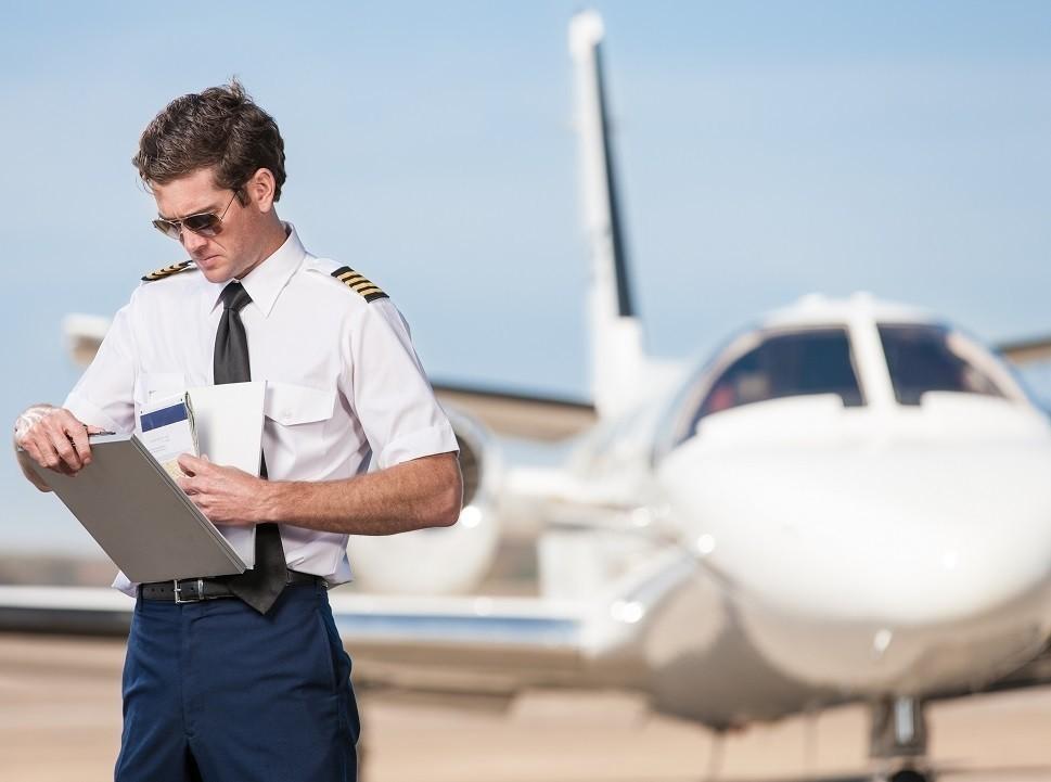 Cessna Citation single pilot works through a pre-flight checklist