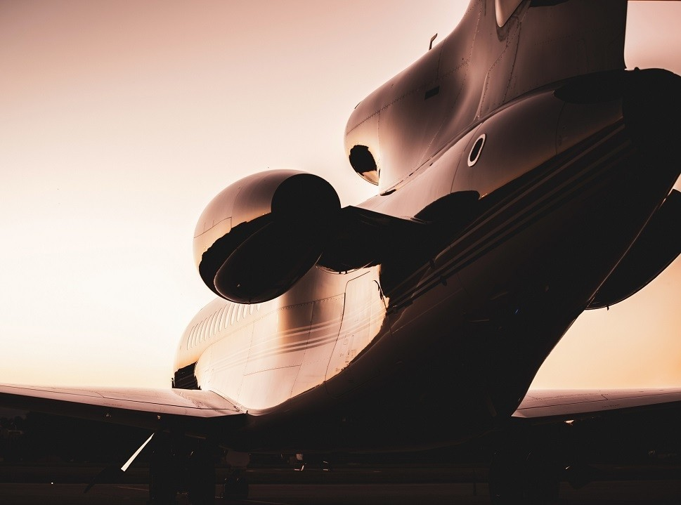 Dassault Falcon private jet viewed from behind