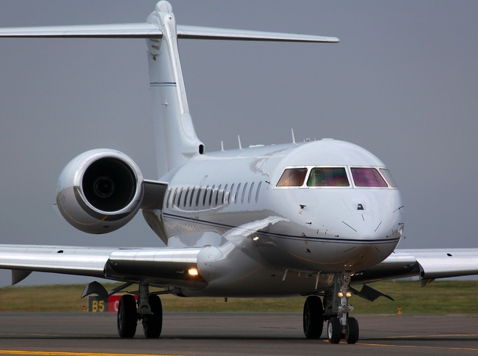 Bombardier Global Express parked on airport apron