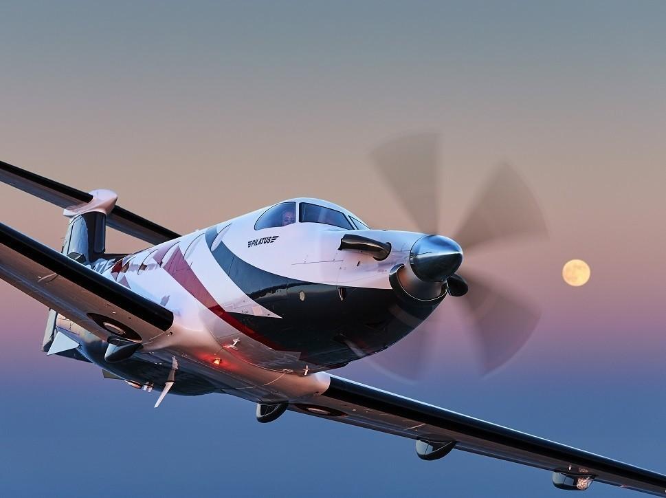 Pilatus PC-12 turboprop aircraft in-flight