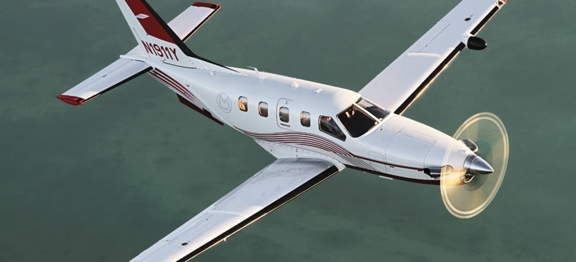 Daher TBM 850 flying over land