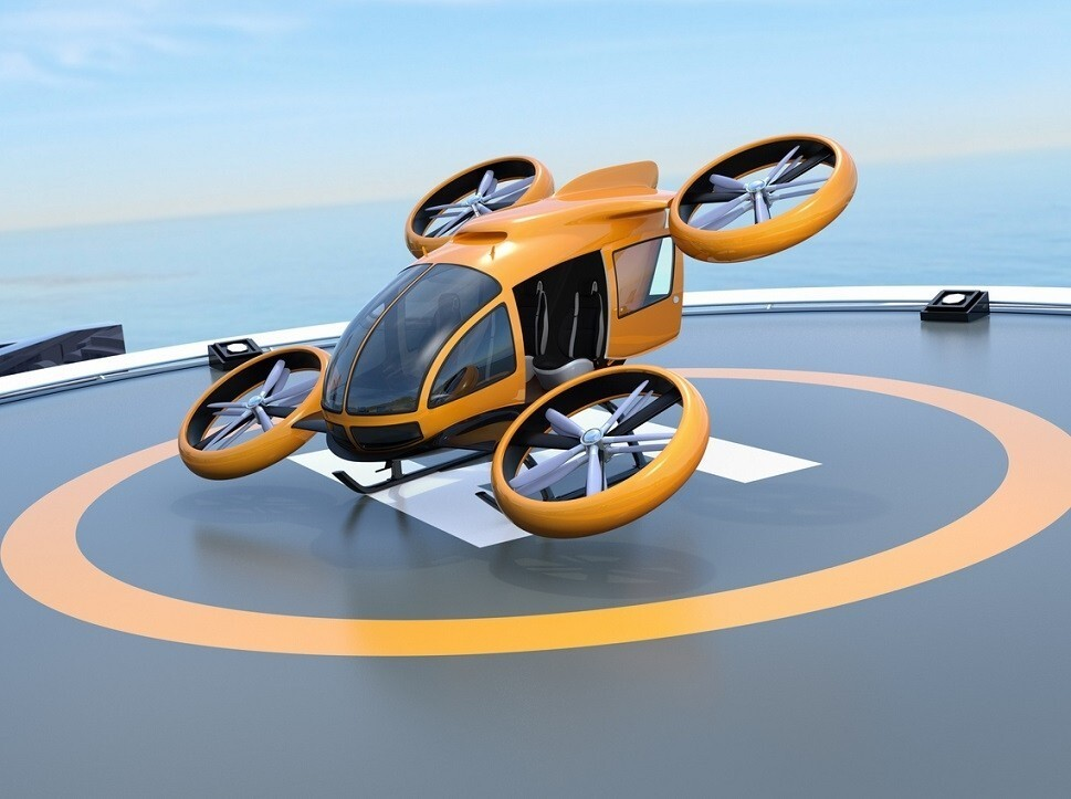 A rendering of an eVTOL using a vertiport