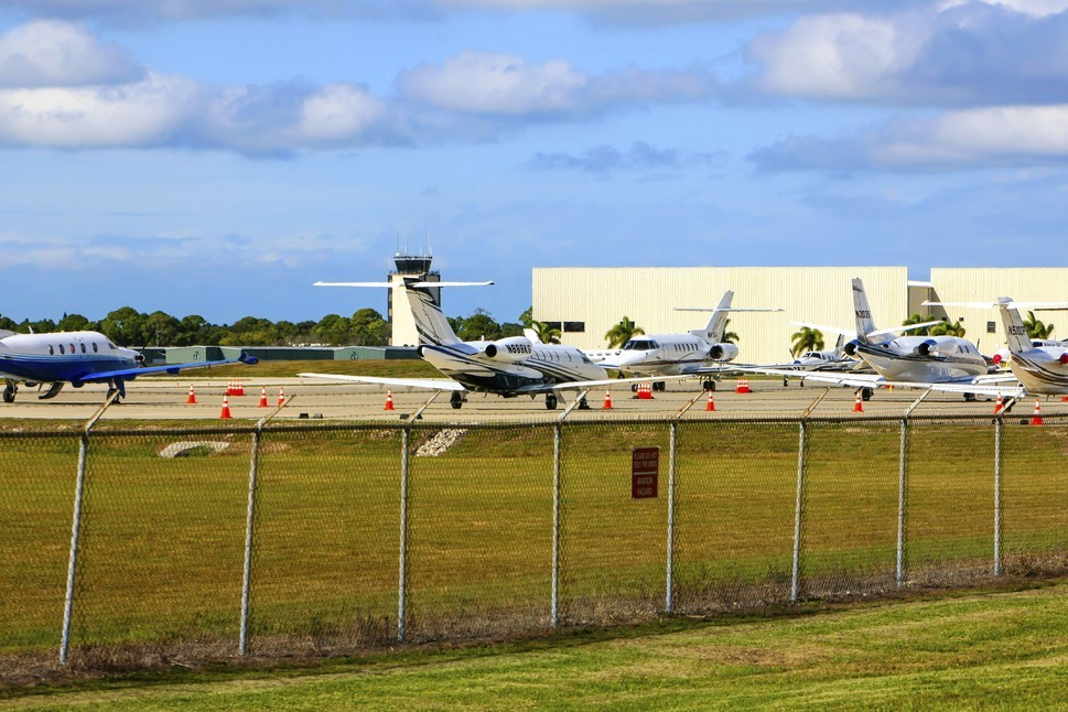 Corporate jet planes at the business side of Sarasota airport in Florida