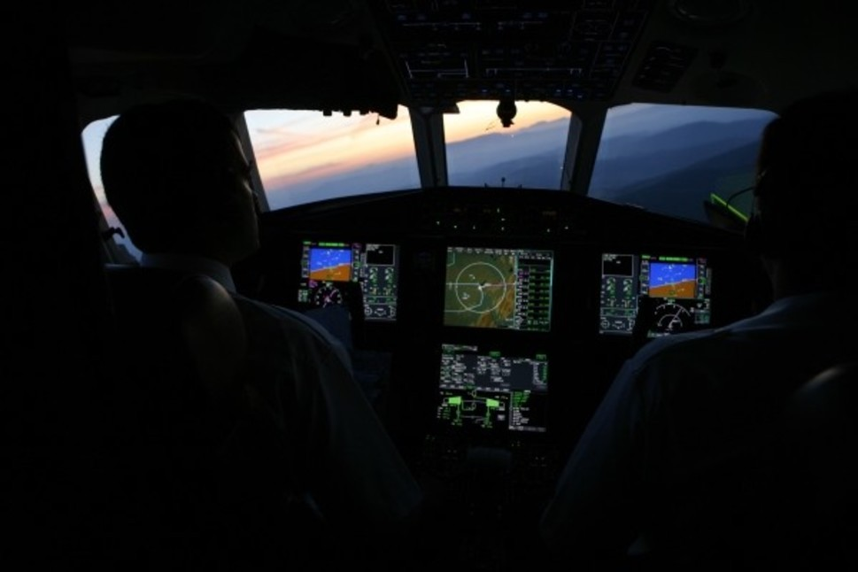 Private Jet Cockpit and Pilots