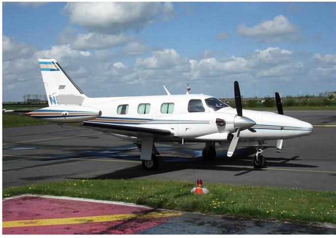 1981 piper cheyenne parked on airfield