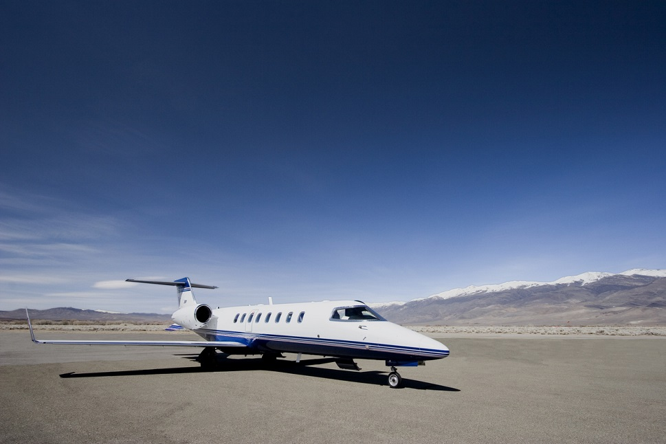 Bombardier Learjet 45 alone on airport ramp