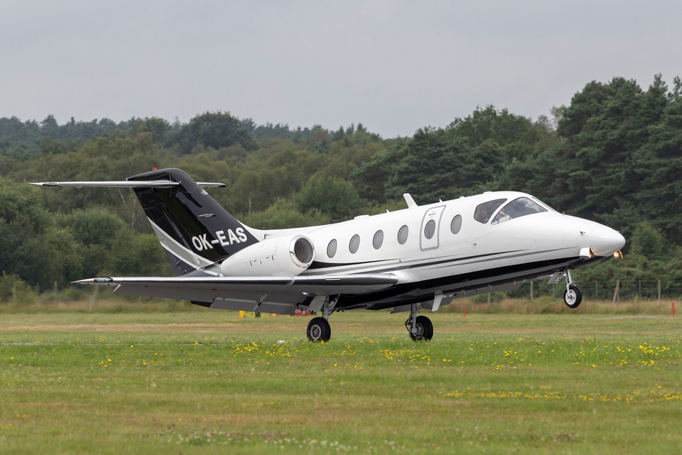 A Hawker 400XP takes off from Farnborough Airport, UK