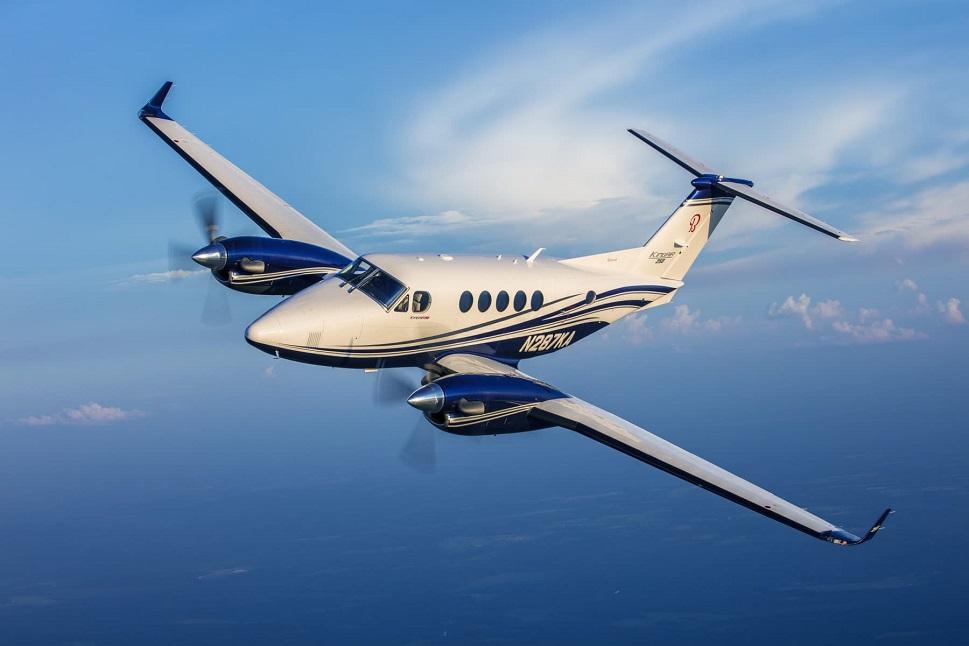 Beechcraft King Air 250 in flight blue sky