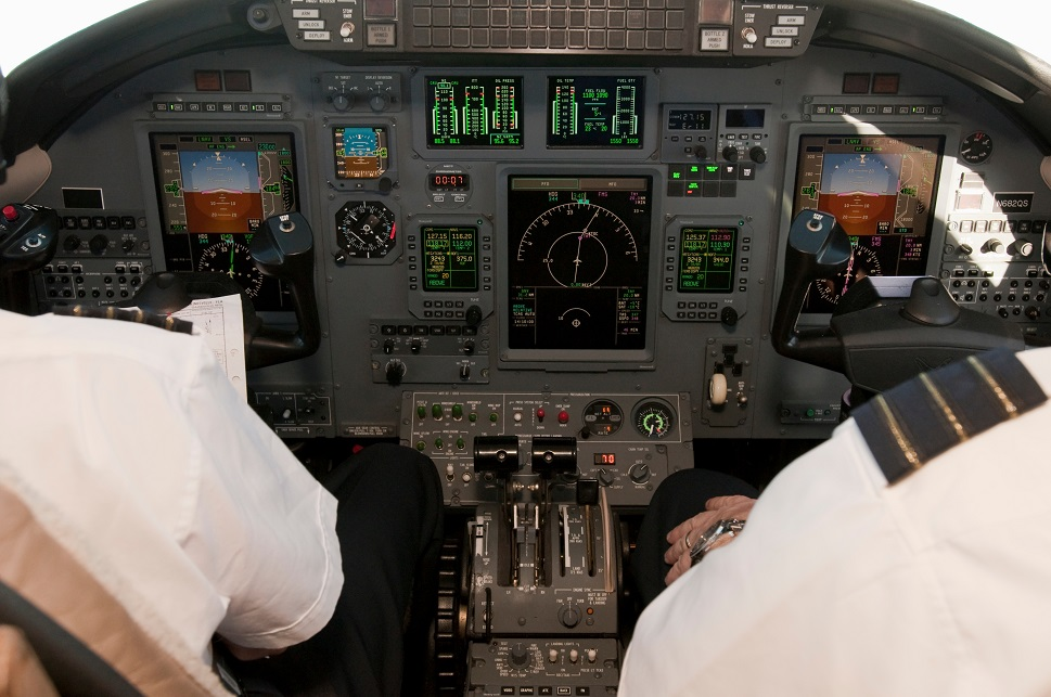 View into an older light jet cockpit