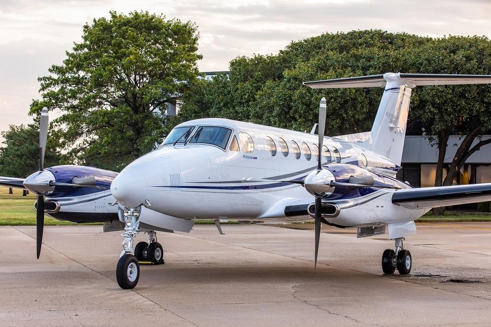 Beechcraft King Air 360 turboprop aircraft on airport ramp